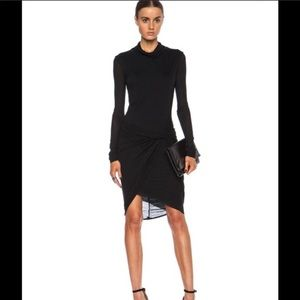 Helmut Lang black wrap effect micro model dress